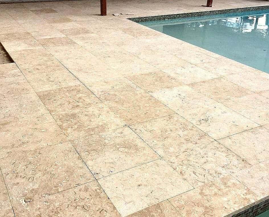 Caribbean Shell Stone Bruashed Pool Deck 24x24