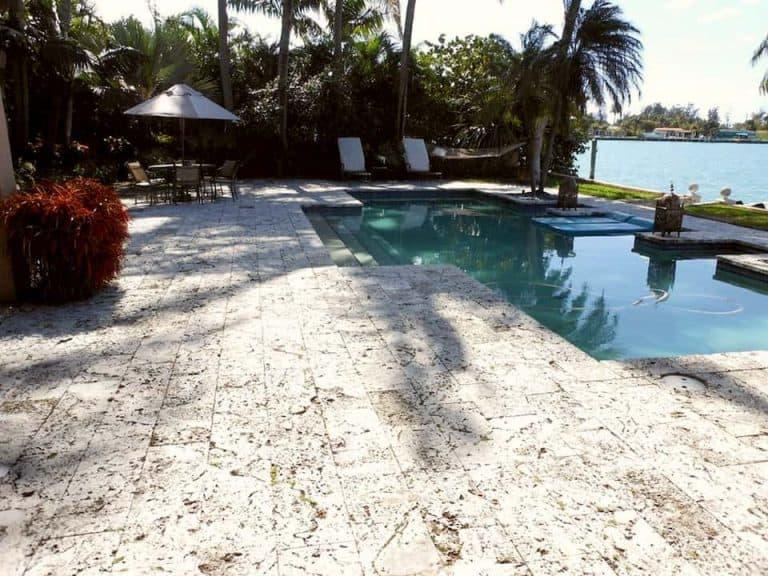 Authentic Florida Keystone Pool Deck 12x24x2, Aged Opt