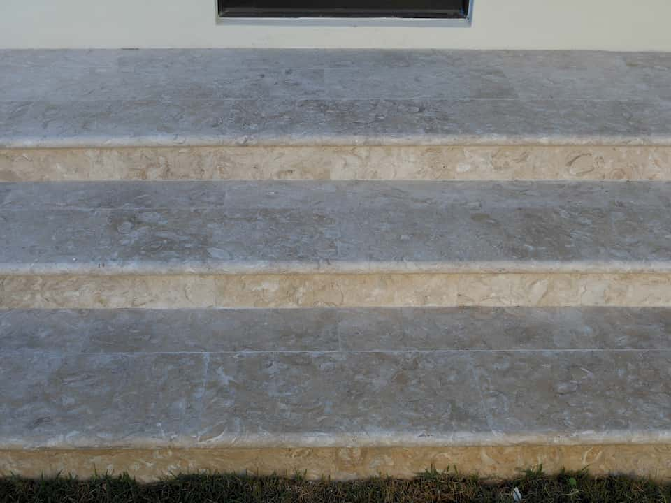 Caribbean Shell Stone Treads And Risers, Brushed
