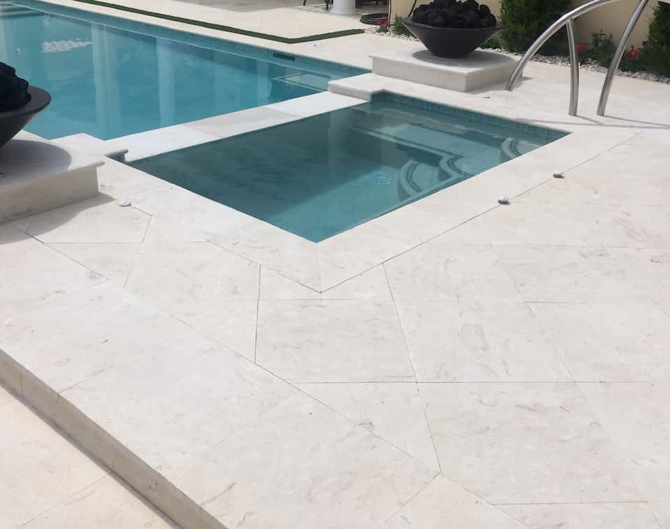 Coral Reef White Brushed Finish 24x24 Tiles 12x24 Coping