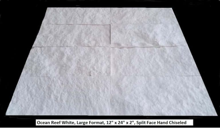 Ocean Reef White, 12x24x2, Split Face, Hand Chiseled, Large Format