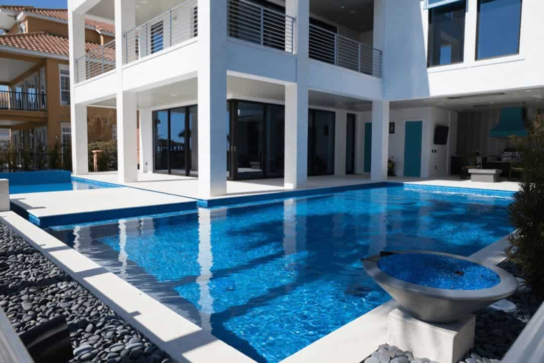 Ocean Reef White Coping, Deck And Columns, Brushed Slide