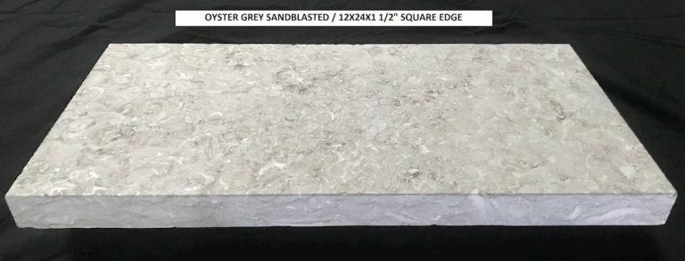 Oyster Grey Sandblasted 12x24x1.5 Square Edge