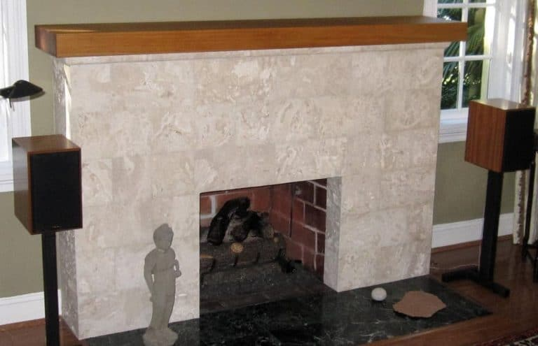 Select White Calypso Coral Saw Cut Unfilled Fireplace Cladding