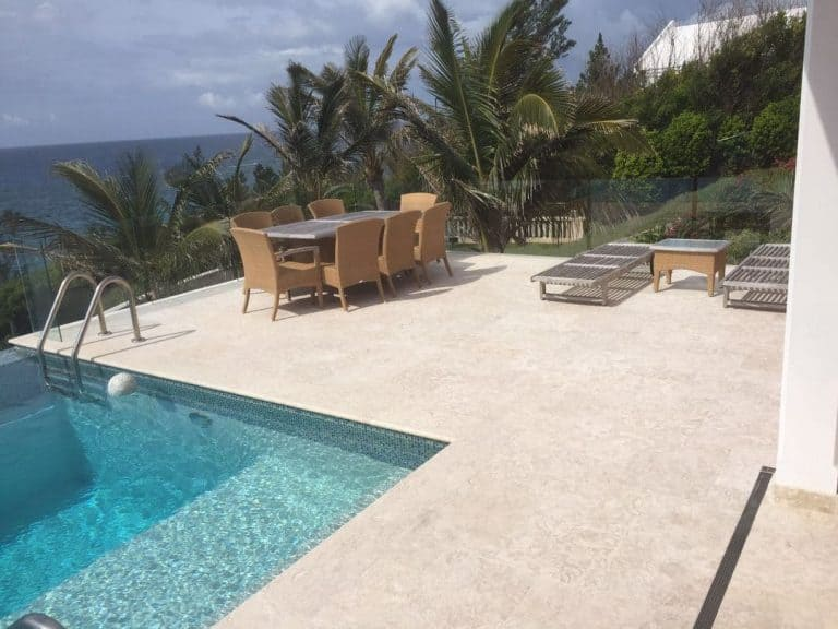 Shells Reef Beige Brushed Pool Deck 24x24 Square Traditional Install