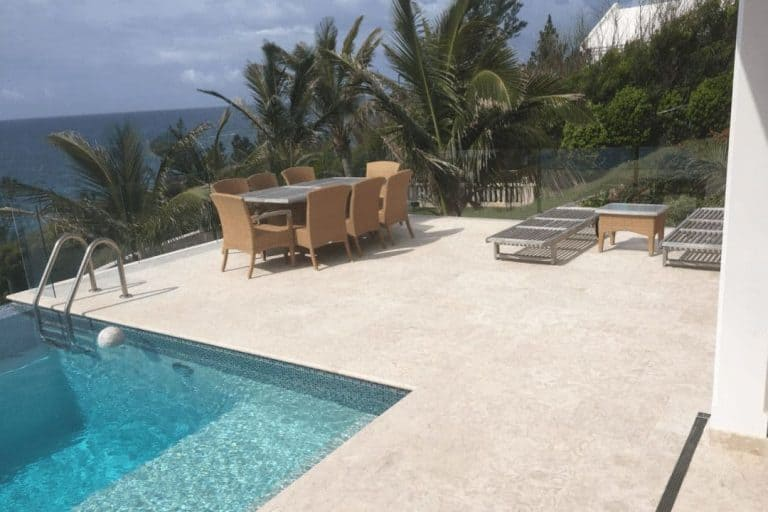Shells Reef Beige Brushed Pool Deck 24x24 Square Traditional Install Slide