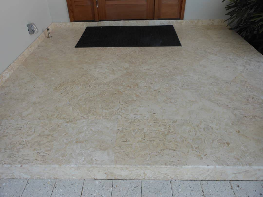 Shells Reef Beige Brushed Entry, Diagnol Install With Square Border